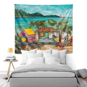 Artistic Wall Tapestry | Patti Schermerhorn - Star Fish Wishes | Beach House Ocean Boats Coast Mountains Beach Palm Trees