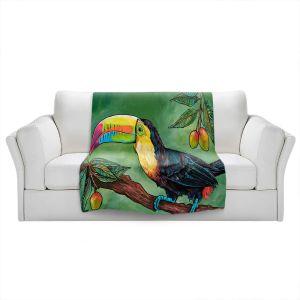 Artistic Sherpa Pile Blankets | Patti Schermerhorn - Toucan Mango | Animals Birds Nature