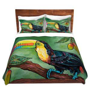 Artistic Duvet Covers and Shams Bedding | Patti Schermerhorn - Toucan Mango | Animals Birds Nature