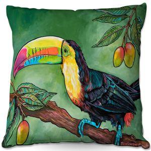 Throw Pillows Decorative Artistic | Patti Schermerhorn - Toucan Mango | Animals Birds Nature