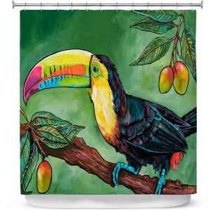 Premium Shower Curtains | Patti Schermerhorn - Toucan Mango | Animals Birds Nature