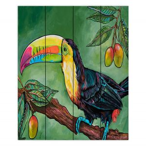 Decorative Wood Plank Wall Art | Patti Schermerhorn - Toucan Mango | Animals Birds Nature