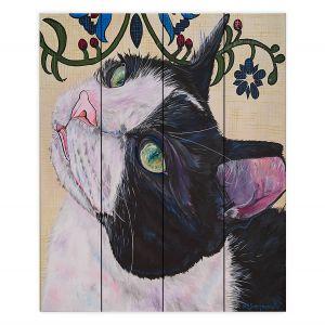 Decorative Wood Plank Wall Art   Patti Schermerhorn - Tuxedo Cat   Animals Cats