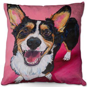 Decorative Outdoor Patio Pillow Cushion | Patti Schermerhorn - Walden Corgi | Animals Dogs