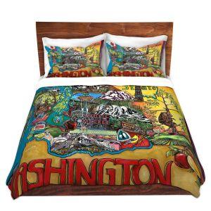 Artistic Duvet Covers and Shams Bedding   Patti Schermerhorn - Washington State   usa america map