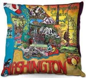 Throw Pillows Decorative Artistic | Patti Schermerhorn - Washington State | usa america map