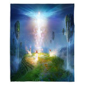 Decorative Fleece Throw Blankets | Philip Straub - Circle of Satori 2 | fantasy spiritual angels mountains