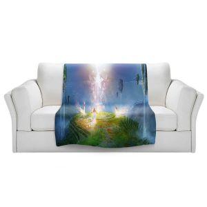 Artistic Sherpa Pile Blankets   Philip Straub - Circle of Satori 2   fantasy spiritual angels mountains