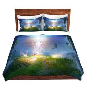 Artistic Duvet Covers and Shams Bedding | Philip Straub - Circle of Satori 2 | fantasy spiritual angels mountains