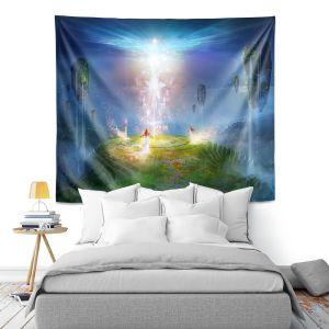 Artistic Wall Tapestry | Philip Straub - Circle of Satori 2 | fantasy spiritual angels mountains