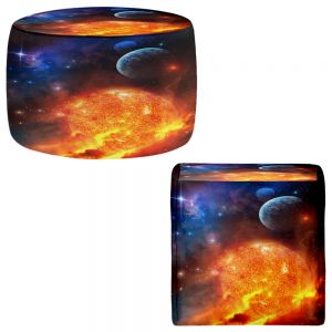 Round and Square Ottoman Foot Stools | Philip Straub - Creation Stars Planets Moon