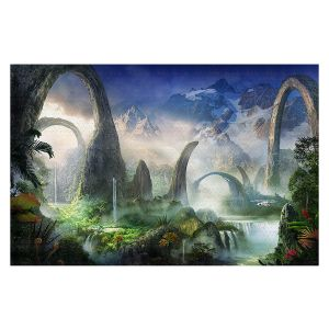 Decorative Floor Covering Mats | Philip Straub - Great North Road | fantasy landscape mountains waterfall
