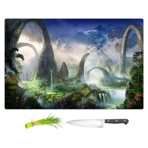 Artistic Kitchen Bar Cutting Boards | Philip Straub - Great North Road | fantasy landscape mountains waterfall
