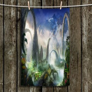 Unique Hanging Tea Towels | Philip Straub - Great North Road | fantasy landscape mountains waterfall