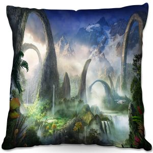 Decorative Outdoor Patio Pillow Cushion   Philip Straub - Great North Road   fantasy landscape mountains waterfall