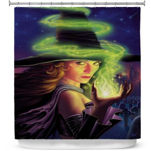 Premium Shower Curtains | Philip Straub - Hex of the Witch | fantasy halloween spooky magic