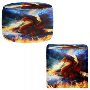 Round and Square Ottoman Foot Stools | Philip Straub - Lord of the Celestial Dragons
