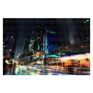 Decorative Floor Covering Mats   Philip Straub - Night City Final 3   cityscape people nightlife rain