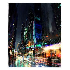 Decorative Fleece Throw Blankets | Philip Straub - Night City Final 3 | cityscape people nightlife rain