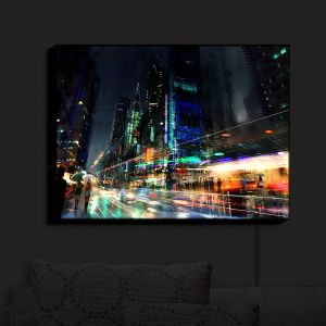 Nightlight Sconce Canvas Light | Philip Straub - Night City Final 3 | cityscape people nightlife rain