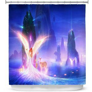 Premium Shower Curtains | Philip Straub - Ooulana | spiritual angel nature fantasy