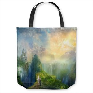 Unique Shoulder Bag Tote Bags | Philip Straub - Road to Oalovah 2 | landscape fantasy nature castle