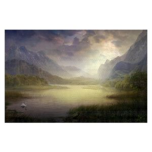 Decorative Floor Covering Mats | Philip Straub - Silent Morning | landscape pond swan mountains