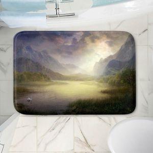 Decorative Bathroom Mats | Philip Straub - Silent Morning | landscape pond swan mountains