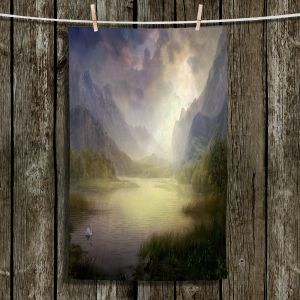 Unique Hanging Tea Towels | Philip Straub - Silent Morning | landscape pond swan mountains