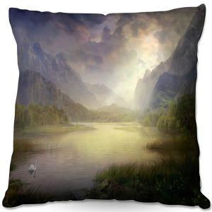 Throw Pillows Decorative Artistic | Philip Straub - Silent Morning | landscape pond swan mountains