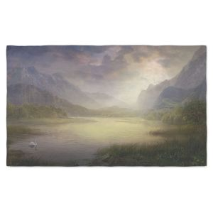 Artistic Pashmina Scarf | Philip Straub - Silent Morning | landscape pond swan mountains