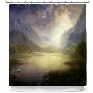 Premium Shower Curtains | Philip Straub - Silent Morning | landscape pond swan mountains