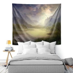 Artistic Wall Tapestry | Philip Straub - Silent Morning | landscape pond swan mountains