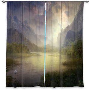 Decorative Window Treatments | Philip Straub - Silent Morning | landscape pond swan mountains