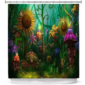 Premium Shower Curtains | Philip Straub - The Imaginaries | fantasy creature whimsical sunflower