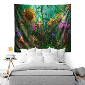 Artistic Wall Tapestry | Philip Straub - The Imaginaries | fantasy creature whimsical sunflower