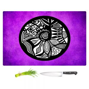 Artistic Kitchen Bar Cutting Boards | Pom Graphic Design - Abstract Circle Purple