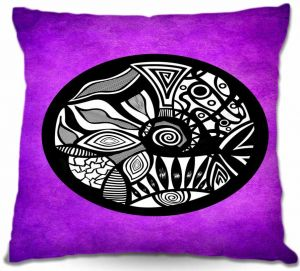 Decorative Outdoor Patio Pillow Cushion | Pom Graphic Design - Abstract Circle Purple