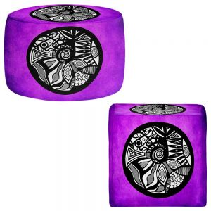 Round and Square Ottoman Foot Stools | Pom Graphic Design - Abstract Circle Purple