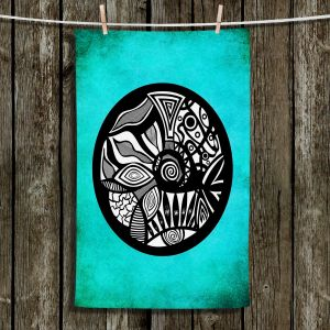 Unique Hanging Tea Towels | Pom Graphic Design - Abstract Circle Turquoise | Patterns Abstract