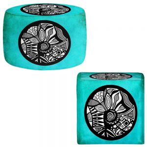 Round and Square Ottoman Foot Stools | Pom Graphic Design - Abstract Circle Turquoise