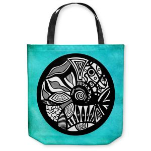 Unique Shoulder Bag Tote Bags | Pom Graphic Design Abstract Circle Turquoise