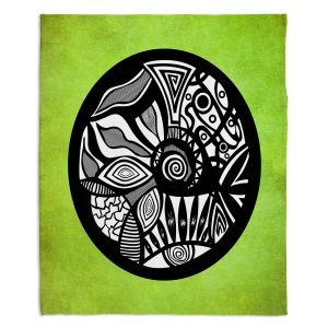 Artistic Sherpa Pile Blankets | Pom Graphic Design Abstract Circle Verde