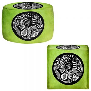Round and Square Ottoman Foot Stools | Pom Graphic Design - Abstract Circle Verde