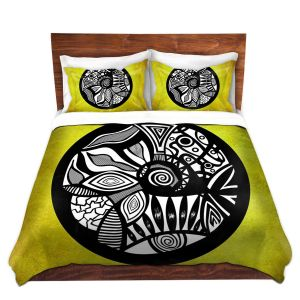 Artistic Duvet Covers and Shams Bedding | Pom Graphic Design - Abstract Circle Yellow