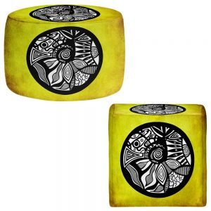 Round and Square Ottoman Foot Stools | Pom Graphic Design - Abstract Circle Yellow