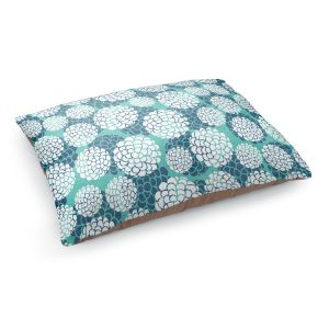 Decorative Dog Pet Beds | Pom Graphic Design's Aqua Floral Blossoms
