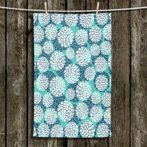 Unique Bathroom Towels | Pom Graphic Design - Aqua Floral Blossoms