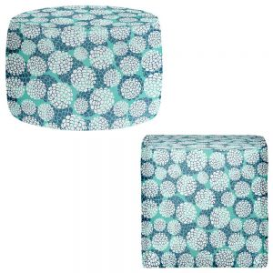 Round and Square Ottoman Foot Stools | Pom Graphic Design - Aqua Floral Blossoms