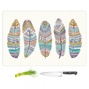 Artistic Kitchen Bar Cutting Boards | Pom Graphic Design - Boho Feathers
